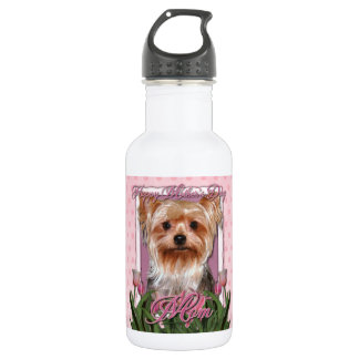 Mothers Day - Pink Tulips - Yorkshire Terrier Stainless Steel Water Bottle
