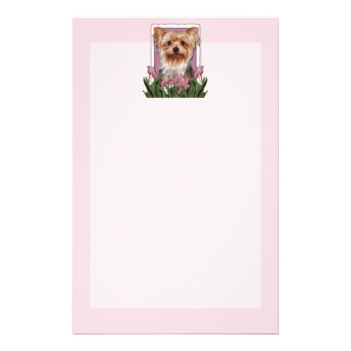 Mothers Day - Pink Tulips - Yorkshire Terrier Custom Stationery