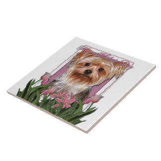 Mothers Day - Pink Tulips - Yorkshire Terrier Tile