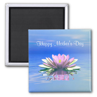 Mother's Day Pink Water Lily 2 Inch Square Magnet
