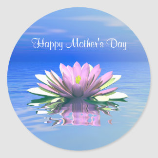 Mother's Day Pink Water Lily Classic Round Sticker
