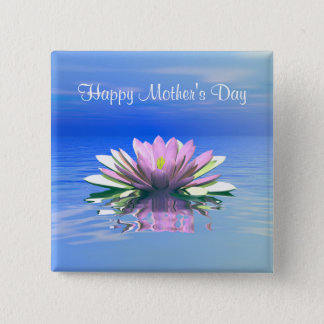 Mother's Day Pink Water Lily Pinback Button