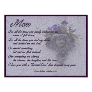 Mothers Day Poem with Floral Sconce Print