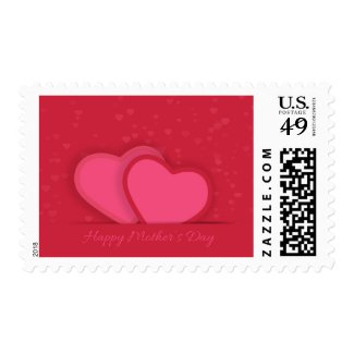 Mothers Day Postage With Red Hearts