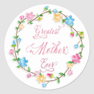 Mother's Day Pretty Floral Wreath 3 Word Art Classic Round Sticker