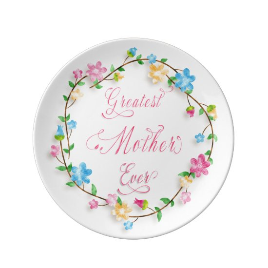 Mother's Day Pretty Floral Wreath 3 Word Art Plate