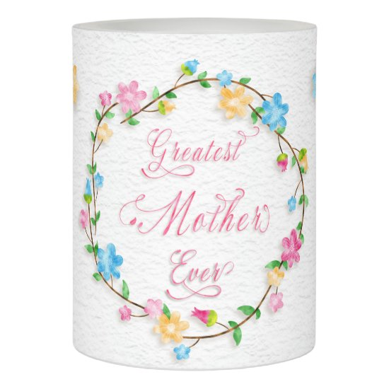 Mother's Day Pretty Floral Wreath Word Art Flameless Candle