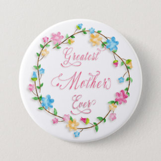 Mother's Day Pretty Floral Wreath Word Art Pinback Button