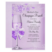 Mother's Day Pretty Lilac Rose Champagne Brunch Invitation