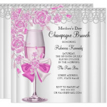 Mother's Day Pretty Pink Rose Champagne Brunch 2a Invitation