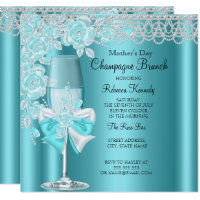 Mother's Day Pretty Teal Rose Champagne Brunch 2B Card