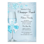 Mother's Day Pretty Teal Rose Champagne Brunch 5x7 Paper Invitation Card