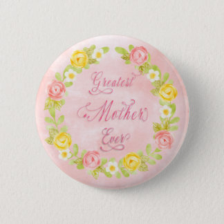 Mother's Day - Pretty Watercolor Roses 2  Word Art Pinback Button