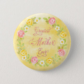 Mother's Day - Pretty Watercolor Roses 3  Word Art Pinback Button