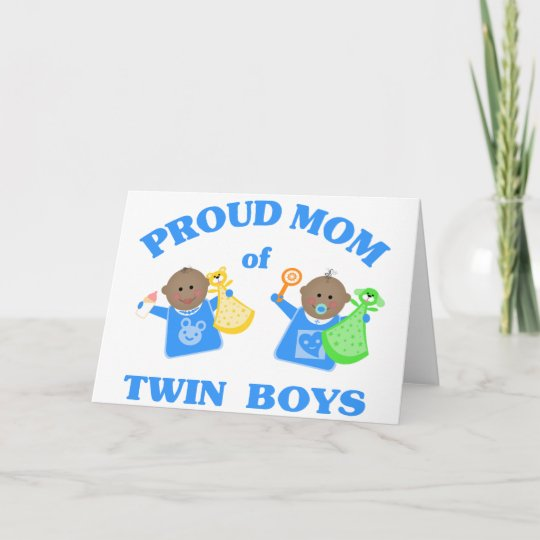 Mothers Day Proud Mom Of Twin Boys Ethnic Card