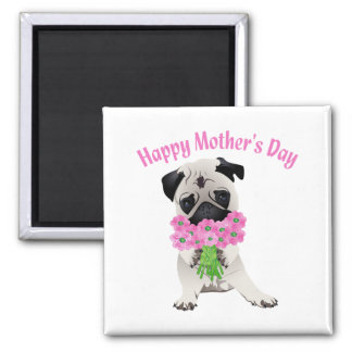 Mother's Day Pug and Flowers 2014 Fridge Magnet