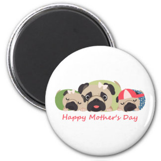 Mother's Day Pugs 2 Inch Round Magnet