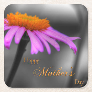 Mothers Day Purple and Orange Coneflower Square Paper Coaster