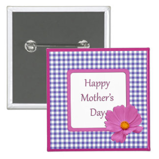 Mother's Day Purple Flower and Gingham Design Pinback Button