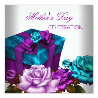 Mother's Day Purple Teal Pink Roses floral Flowers Card