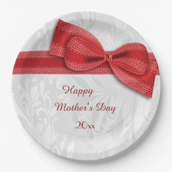 Mother's Day Red Damask and Faux Bow Paper Plate