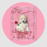 Mothers Day - Red Rose - Bichon Frise Classic Round Sticker