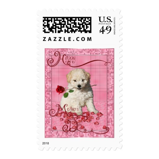 Mothers Day - Red Rose - Bichon Frise Puppy Postage