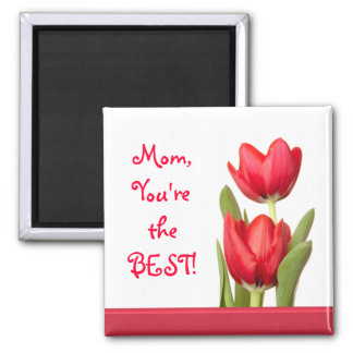 Mother's Day Red Tulips 2 Inch Square Magnet