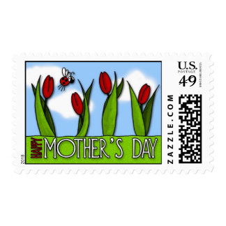 Mother's Day red tulips and ladybug postage