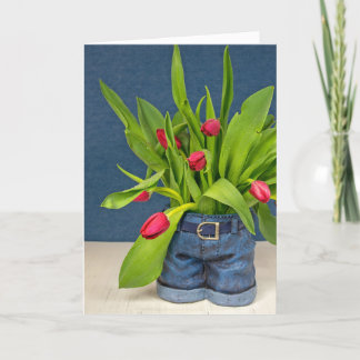 Mother's Day-red tulips in blue jean pot Card