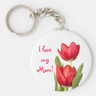 Mother's Day Red Tulips Keychain
