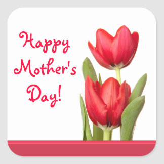 Mother's Day Red Tulips Stickers