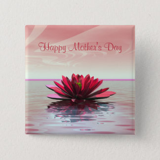 Mother's Day Red Water Lily Button