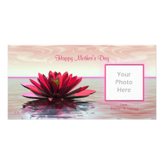 Mother's Day Red Water Lily Card