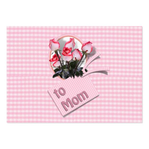 Mother's Day Roses For Mom (Checkered) Business Card Template