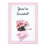 """Mother's Day Roses For Mom (Checkered) 5"""" X 7"""" Invitation Card"""