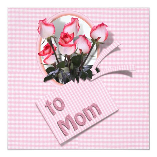 """Mother's Day Roses For Mom (Checkered) 5.25"""" Square Invitation Card"""