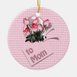 Mother's Day Roses For Mom (Checkered) Ornaments