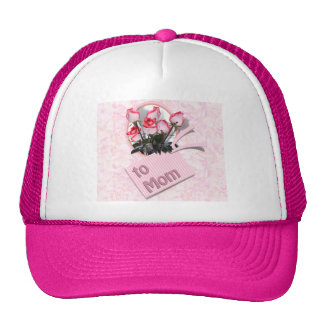 Mother's Day Roses For Mom (Floral Background) Trucker Hat