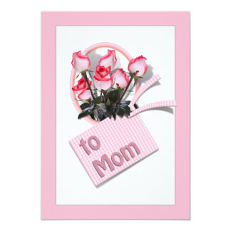 """Mother's Day Roses For Mom (Pink Background) 5"""" X 7"""" Invitation Card"""