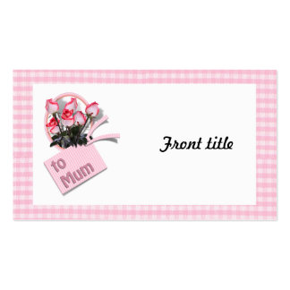 Mother's Day Roses For Mum on Checkered Pink Double-Sided Standard Business Cards (Pack Of 100)
