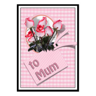 Mother's Day Roses For Mum on Checkered Pink Large Business Cards (Pack Of 100)