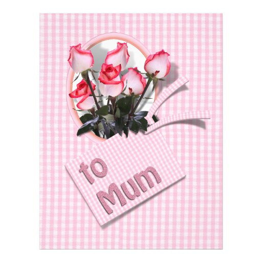 """Mother's Day Roses For Mum on Checkered Pink 8.5"""" X 11"""" Flyer"""