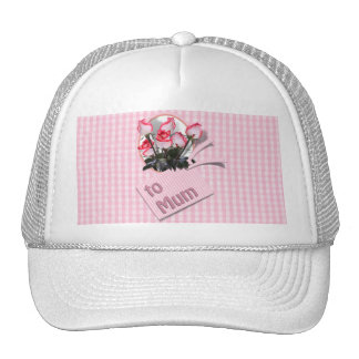 Mother's Day Roses For Mum on Checkered Pink Hats