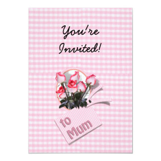 """Mother's Day Roses For Mum on Checkered Pink 5"""" X 7"""" Invitation Card"""