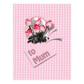 Mother's Day Roses For Mum on Checkered Pink Postcard