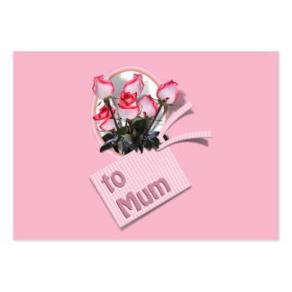 Mother's Day Roses For Mum (on Pink) Large Business Cards (Pack Of 100)