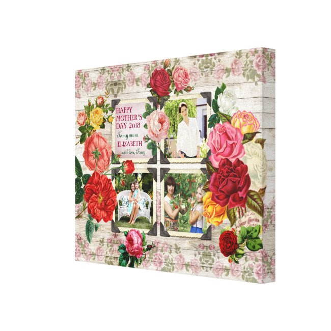 Mother's Day Roses Instagram Vintage Photo Collage Canvas Print