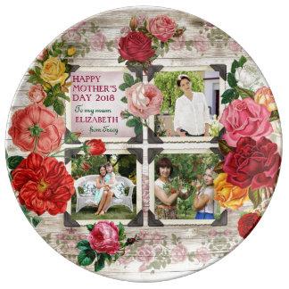 Mother's Day Roses Instagram Vintage Photo Collage Porcelain Plate