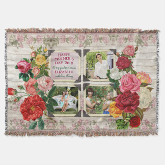 Mother's Day Roses Instagram Vintage Photo Frame Throw